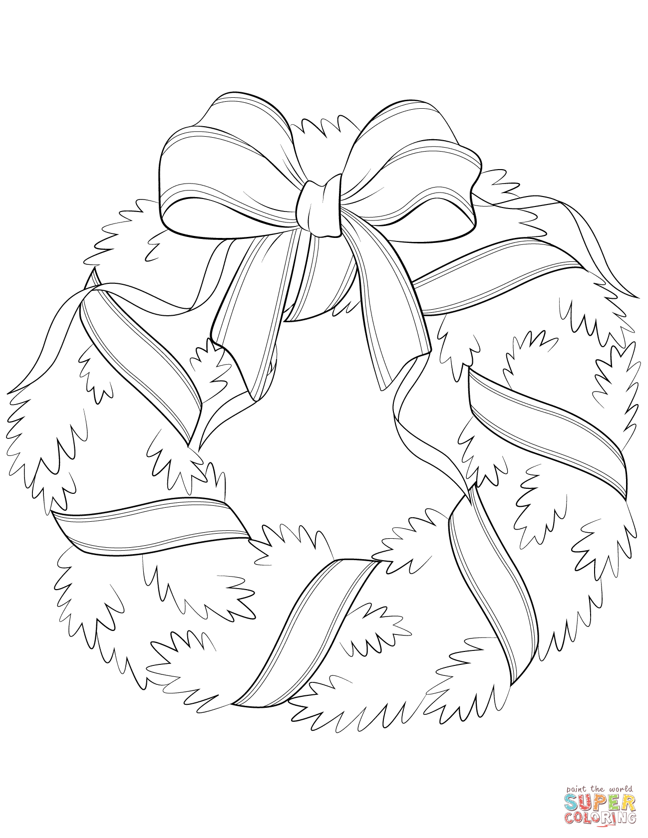 1298x1680 Christmas Wreath With Red Bow Coloring Page Free Printable