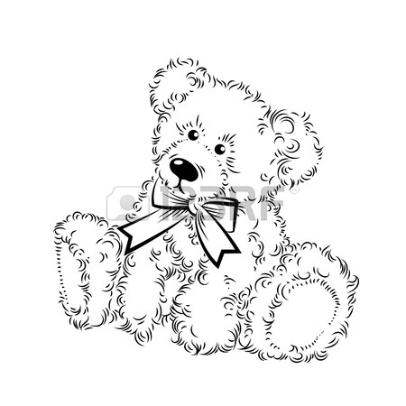 450x450 Cute Drawing Teddy Bear With Heart. Vector Illustration Royalty