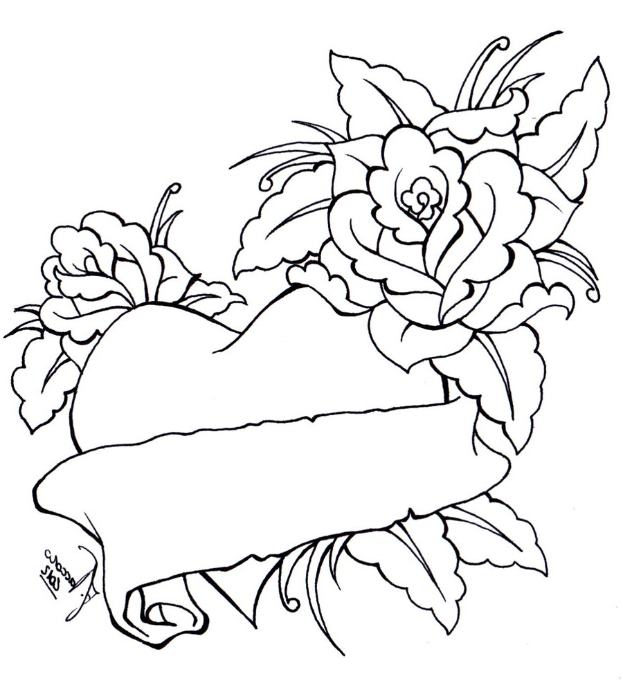 900x987 Heart Bow Coloring Pages Coloring Pages Of Roses And Hearts