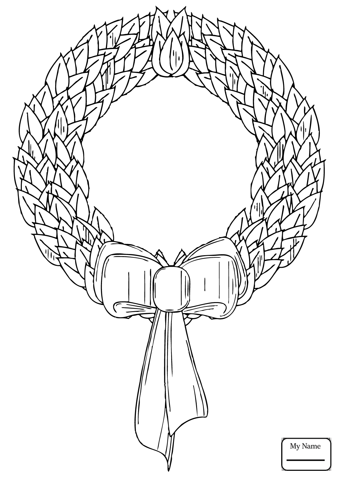 1081x1530 Coloring Pages For Kids Holidays Christmas Wreath With Red Bow