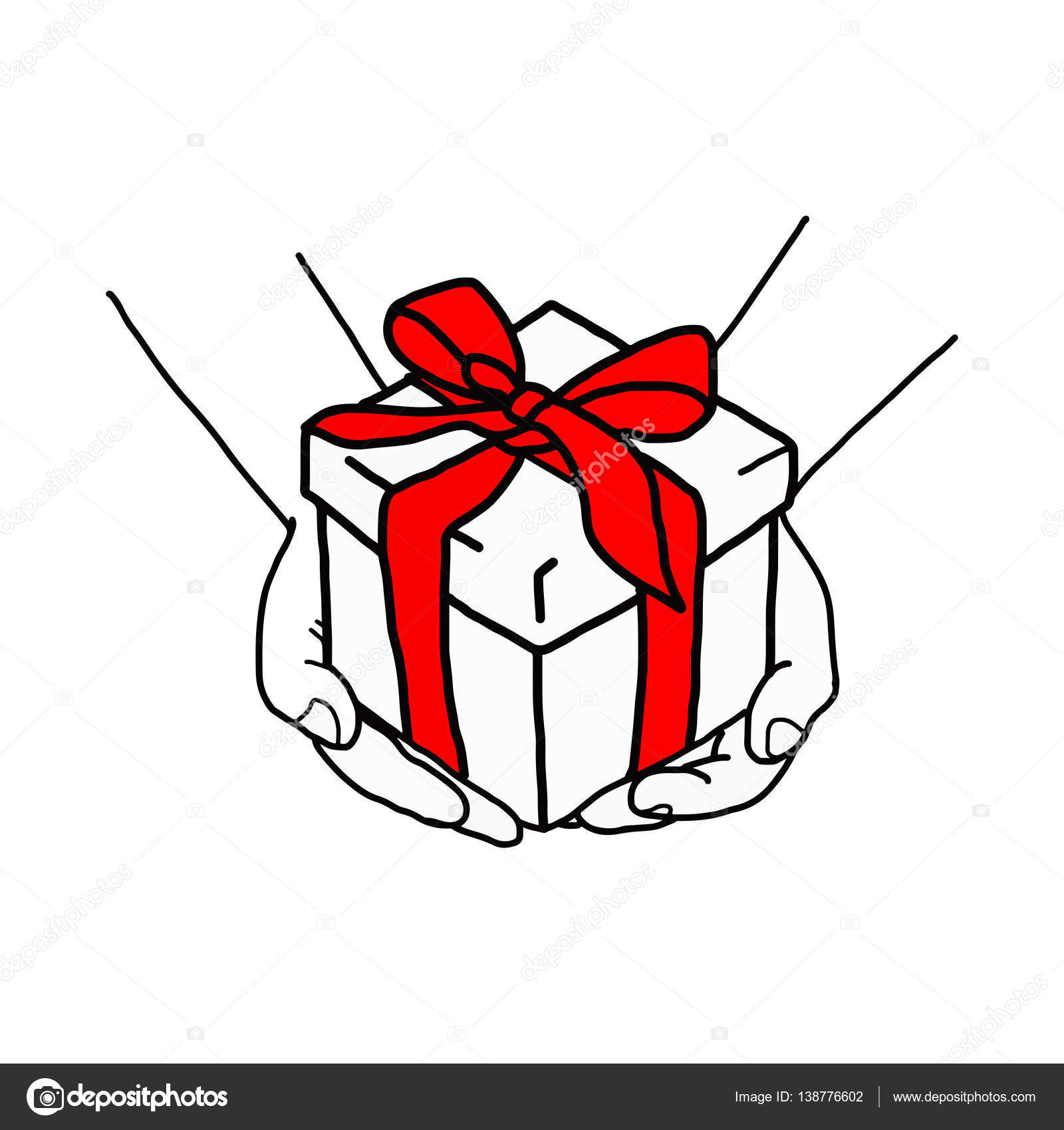 1600x1700 Illustration Vector Hand Drawn Doodle Of Hand Holding A Gift Box