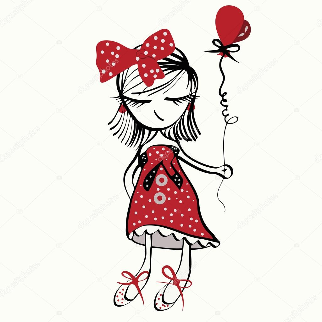 1024x1024 Vector Illustration Of A Girl Holding Balloons In His Hand, In Red