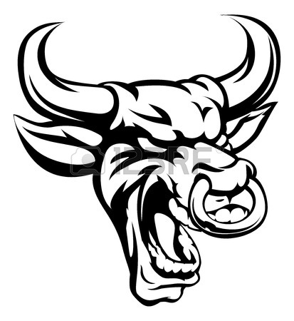 413x450 An Illustration Of A Red Bull Animal Mean Sports Mascot Head