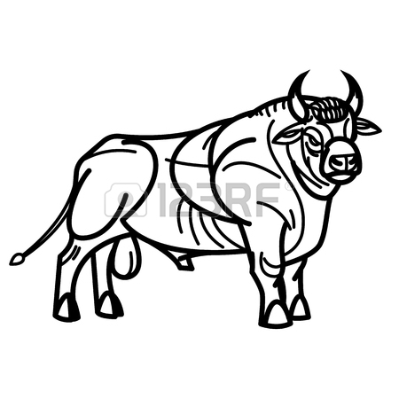 450x450 Stylized Drawing Of A Powerful Standing Red Bull Royalty Free