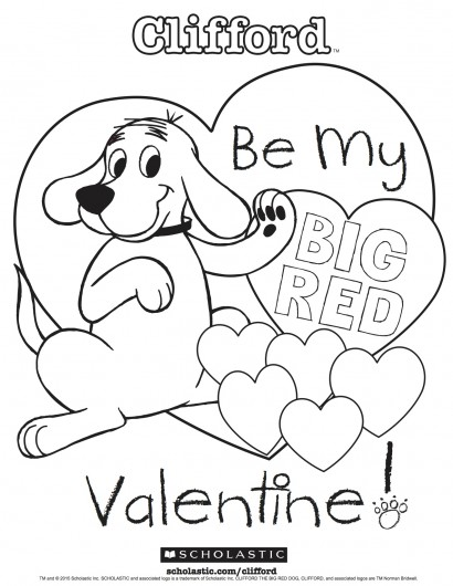 410x530 Clifford's My Big Red Valentine Coloring Sheet Parents