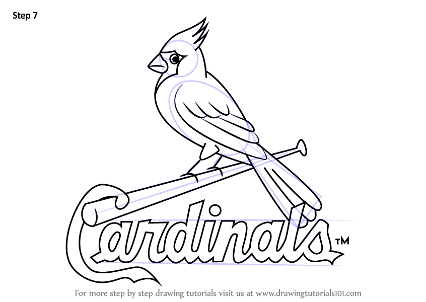 846x600 Learn How To Draw St. Louis Cardinals Logo (Mlb) Step By Step