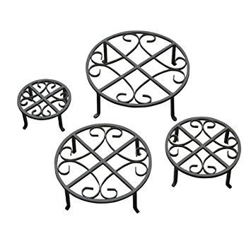 355x355 Red Carpet Studios Set Of Four Round Black Iron Plant