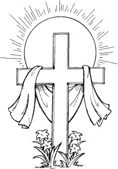 233x332 Easter Cross Clipart Black And White Easter Day