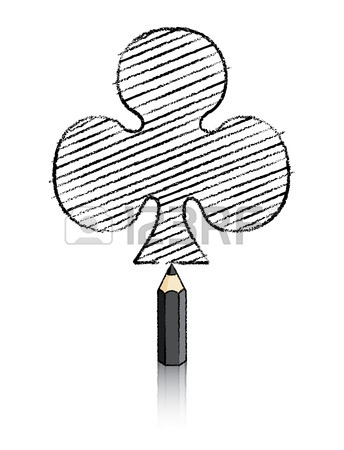 344x450 Illustration Of Red Pencil Drawing Ace Of Clubs Icon Stock Photo