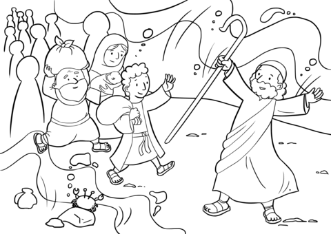 480x340 Israelites Cross The Red Sea Coloring Page Free Printable