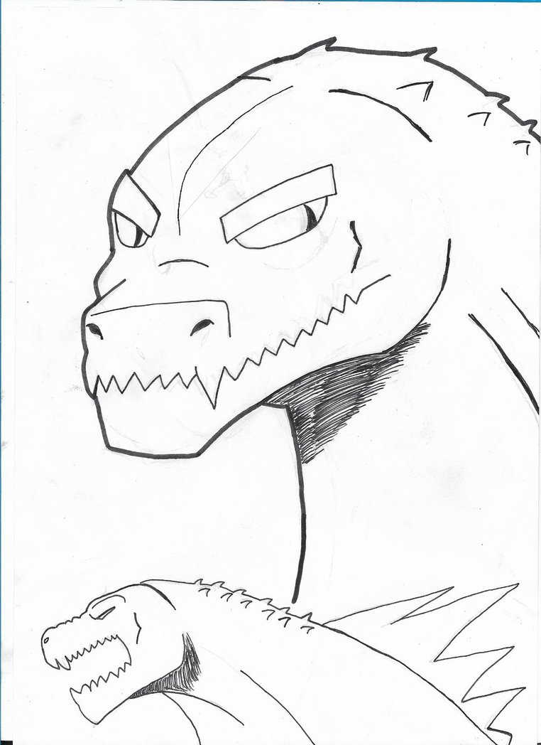 762x1048 Godzilla Poses And Headshot Black And White By The Red Devils