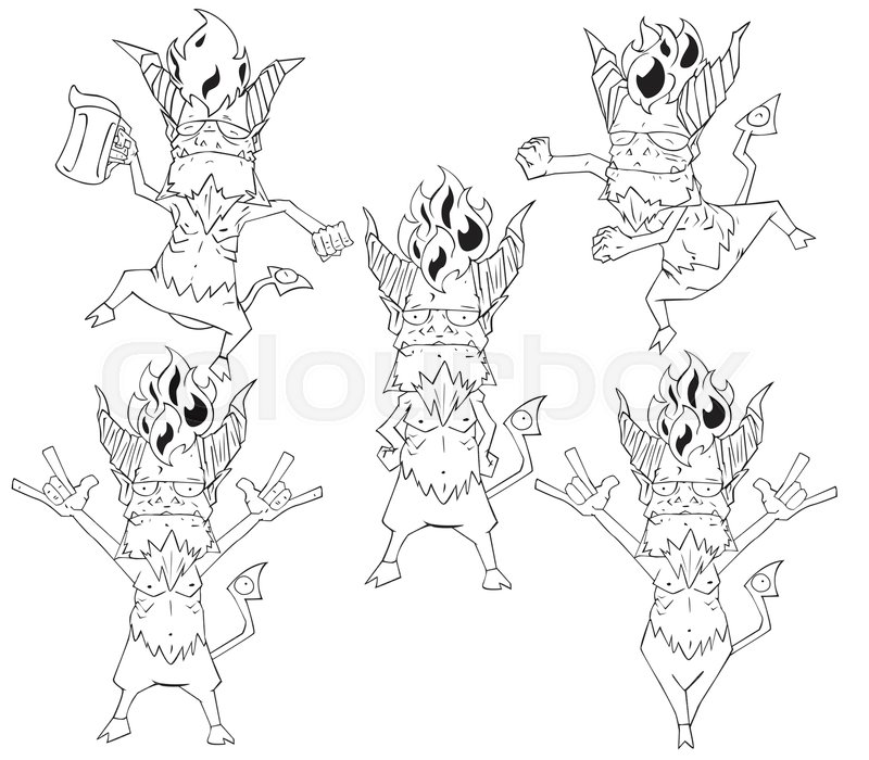 800x700 Red Devil Character Vector. Monster In Halloween Night Stock