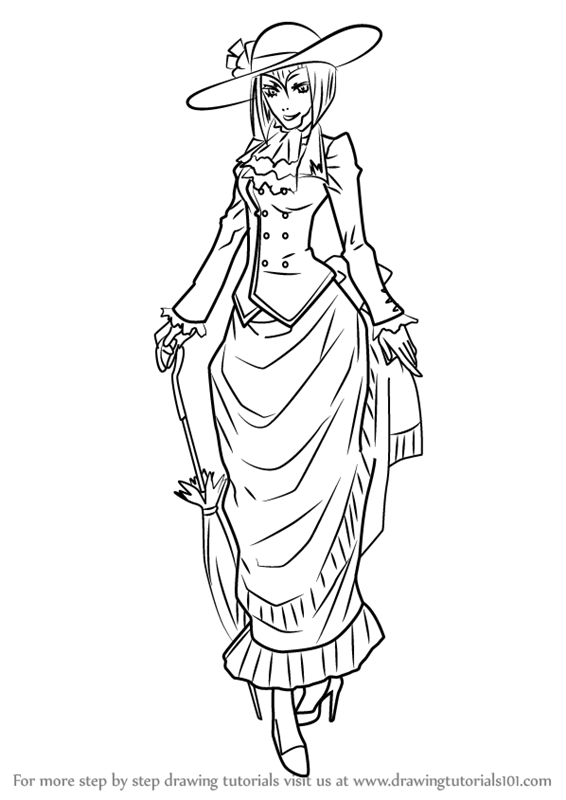566x800 Learn How To Draw Madame Red From Black Butler (Black Butler) Step