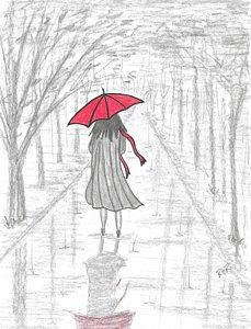 229x300 Red Umbrella Drawings Fine Art America