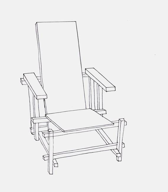 569x650 Red And Blue Chair Line Drawing By Rachael Edmonds