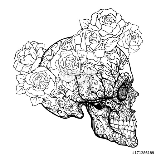 500x500 Sugar Skull With Decorative Pattern And A Wreath Of Red Roses
