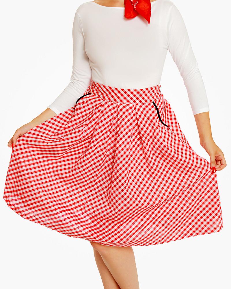 800x1000 Daniella Red Gingham Swing Skirt 1950's Inspired Fashion Lindy Bop