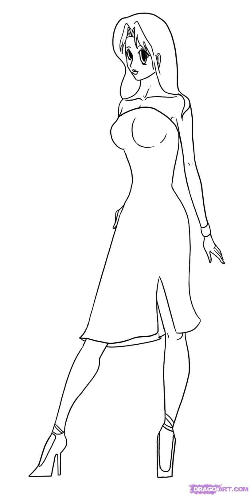 814x1612 Anime Drawing Model 6. How To Draw A Red Dress, Anime Model