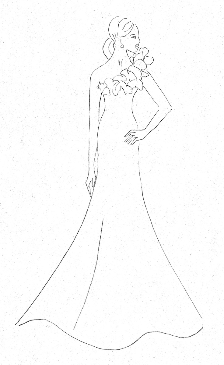 736x1198 The Heart Truth Fashion Show Red Dress Sketch By Designer Romona