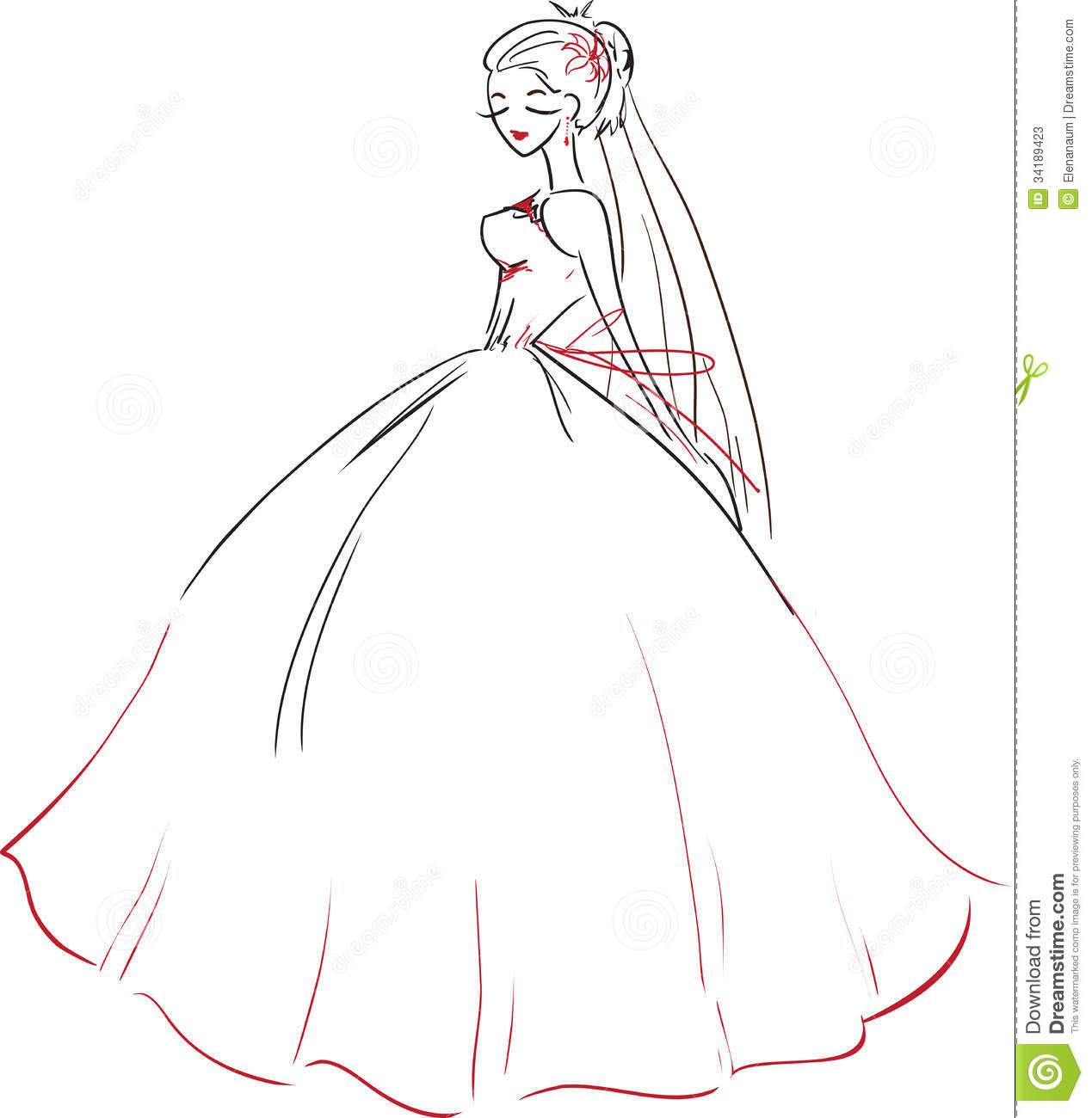 1269x1300 Symbolic Beautiful Bride Wedding Dress Vector Image Young Slender