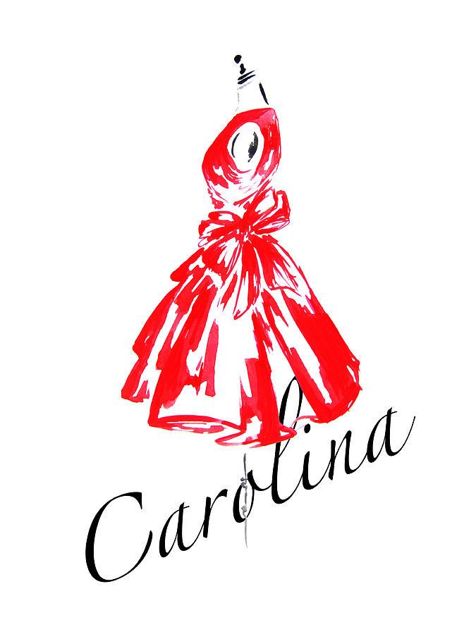 675x900 Carolina Red Dress Painting By Koma Art