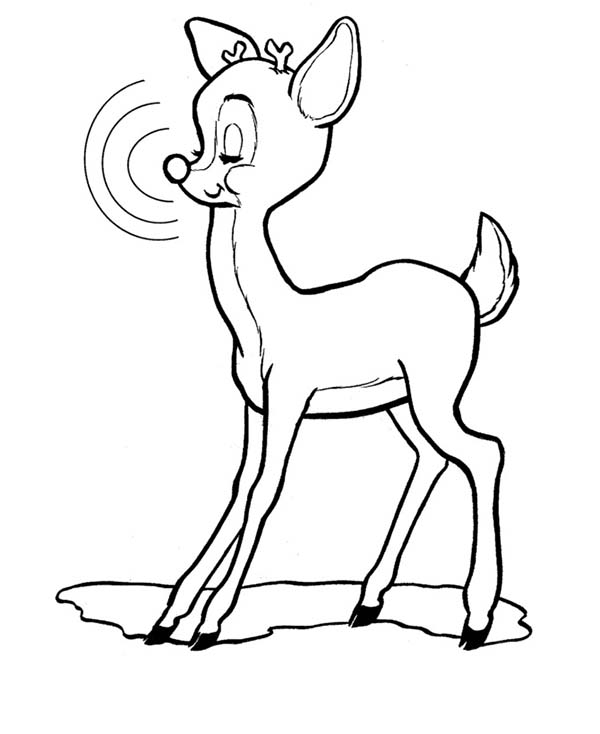 600x734 Rudolph The Red Nosed Reindeer Closed His Eyes Coloring Page