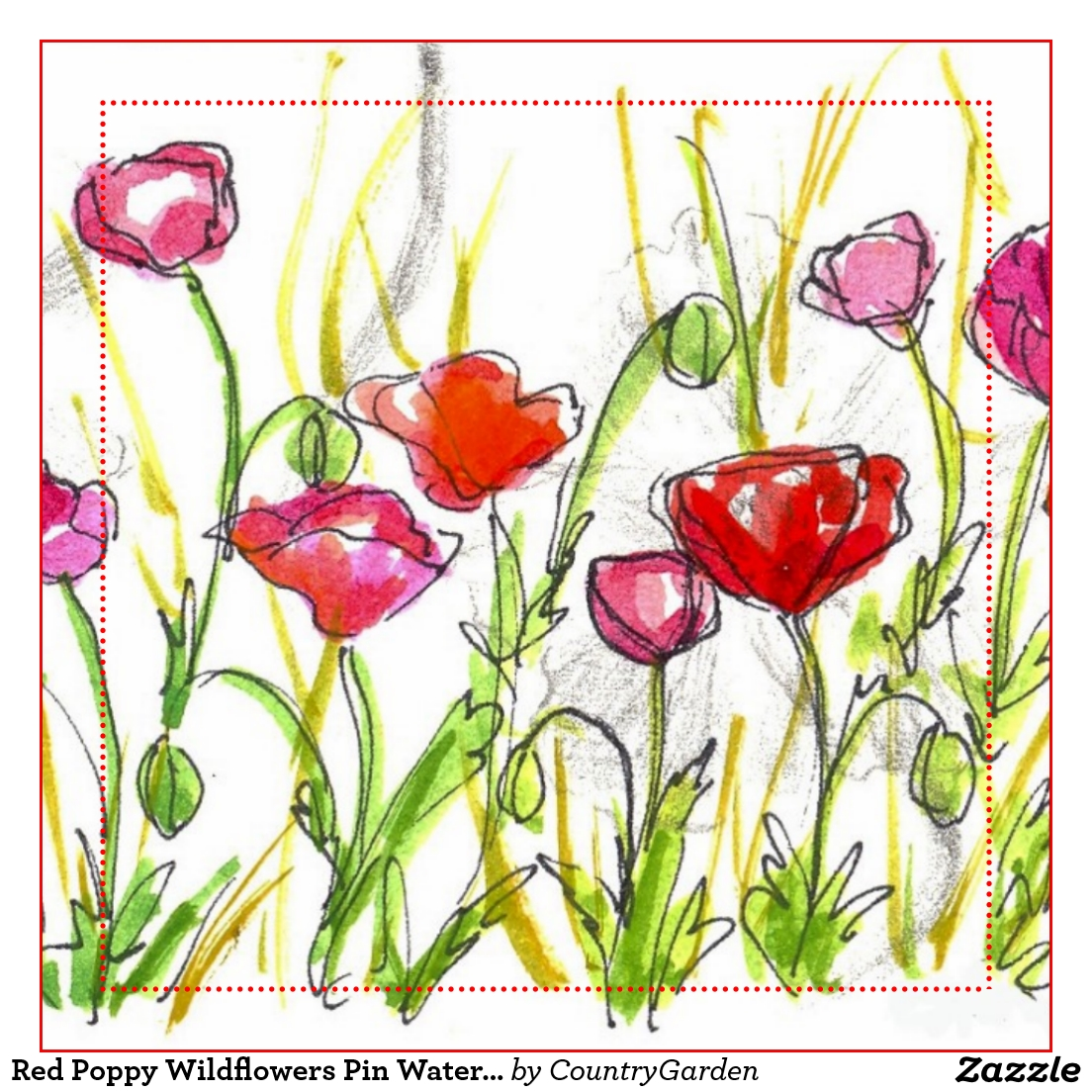 1104x1104 Red Poppy Watercolor Wildflowers Painting Pinback Button