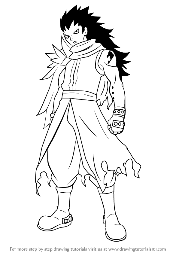 596x842 Learn How To Draw Gajeel Redfox From Fairy Tail (Fairy Tail) Step