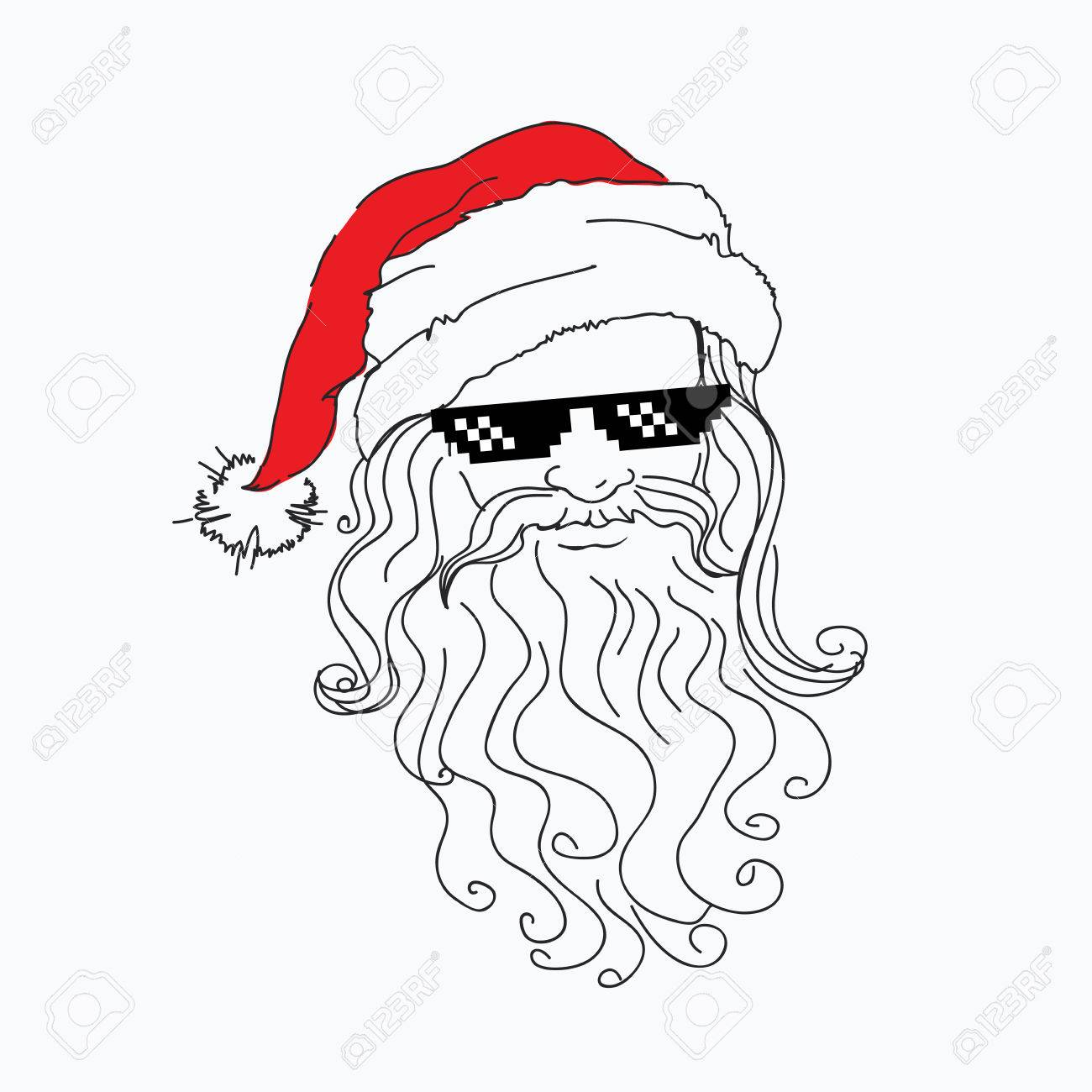 1300x1300 Santa Claus Funny Portrait In Red Hat In A Steep Pixel Black