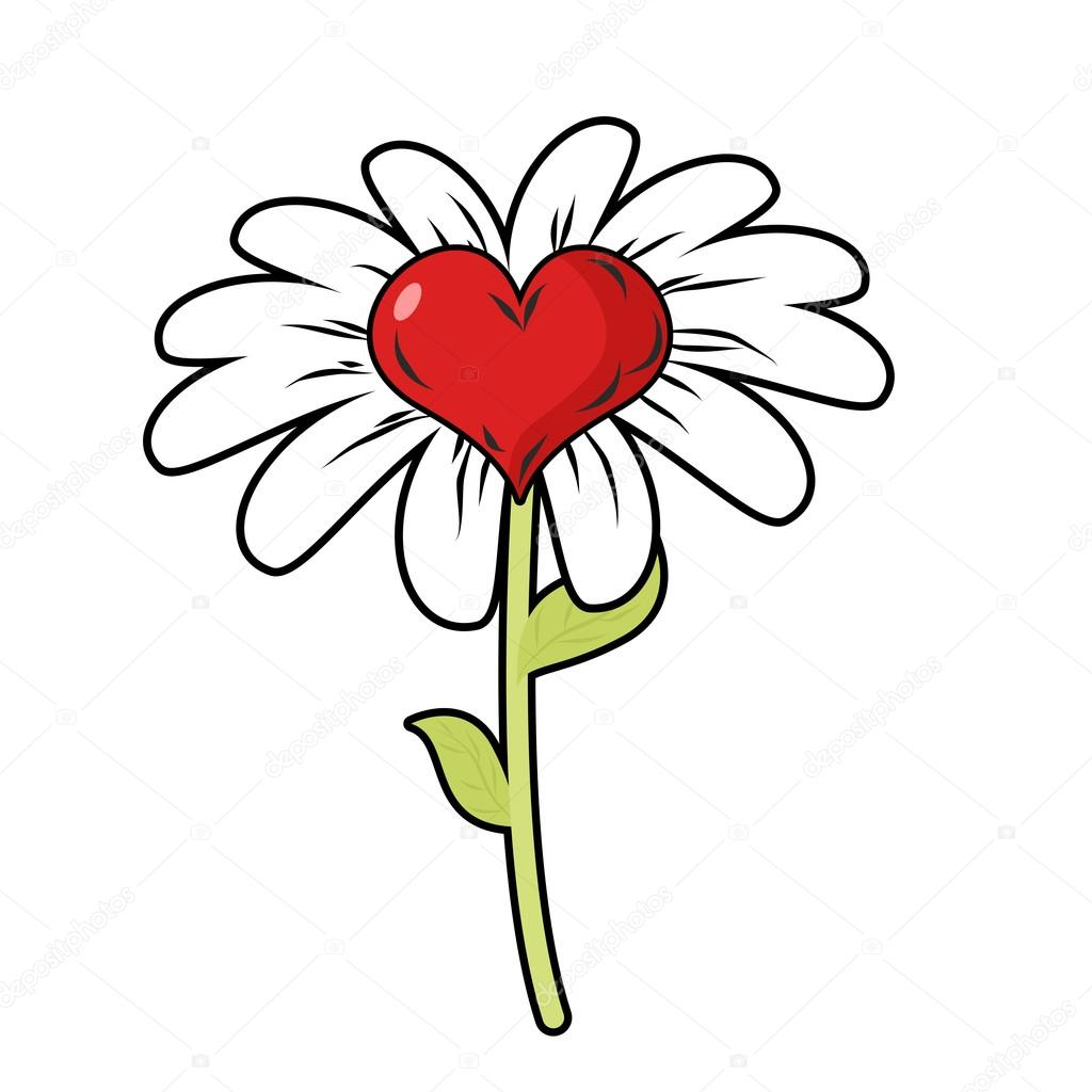 1024x1024 Flower Of Love. Red Heart Symbol Of Love And Daisy Petals. Fanta