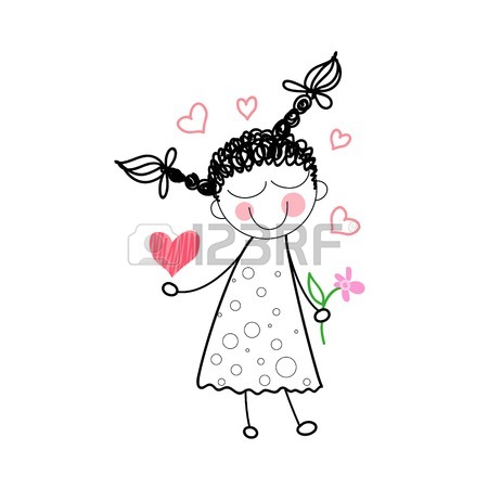 450x450 Girl Holding Flower Red Heart Shape Love Drawing Simple Line