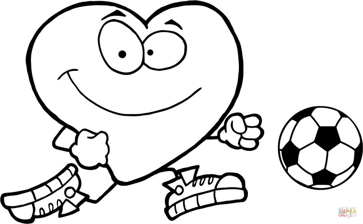1170x721 Healthy Red Heart With A Soccer Ball Coloring Page Free