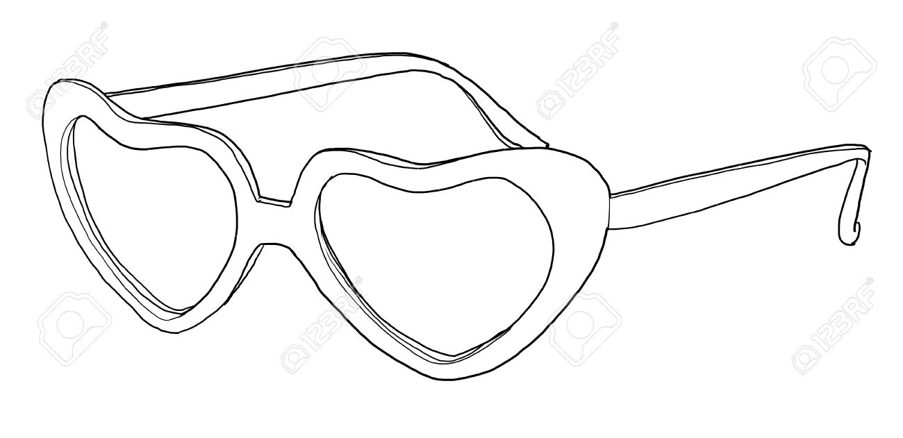1300x631 Heart Shaped Red Sunglasses Vintage Line Art Stock Photo, Picture