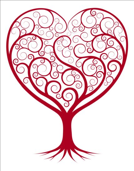 431x550 Red Tree Heart Vector Material