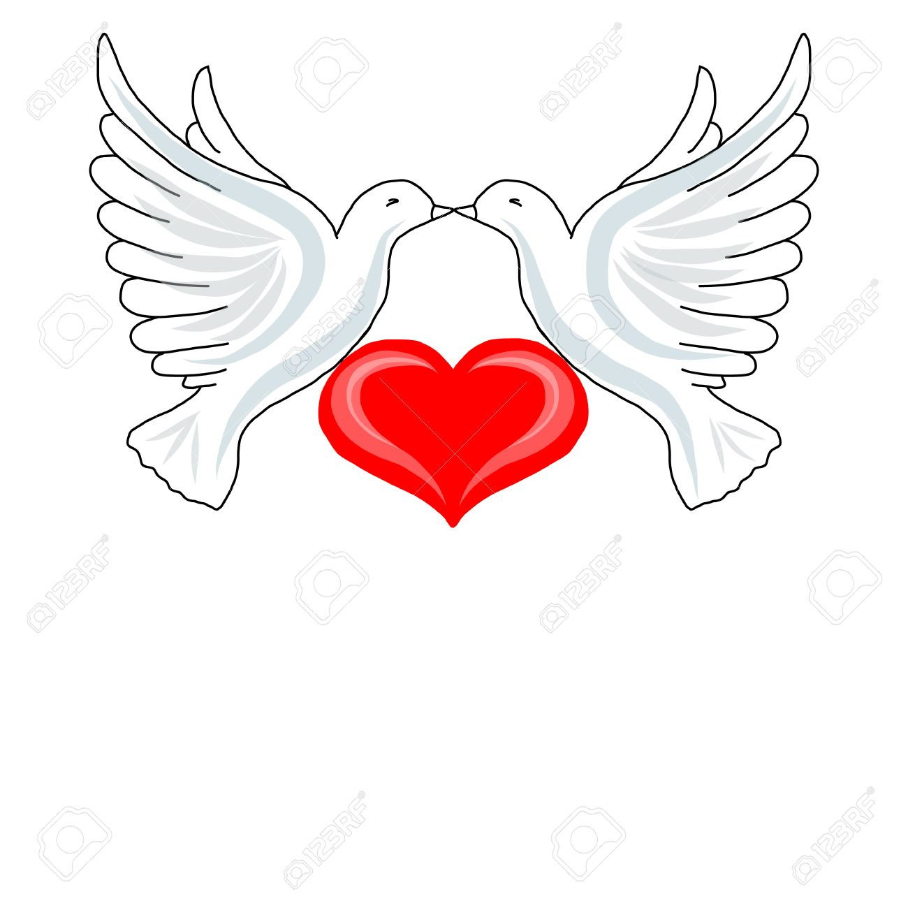1300x1300 Two Doves With Heart For Your Design Royalty Free Cliparts