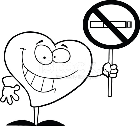 489x440 Black And White Red Heart Holds No Smoking Sign Stock Vector