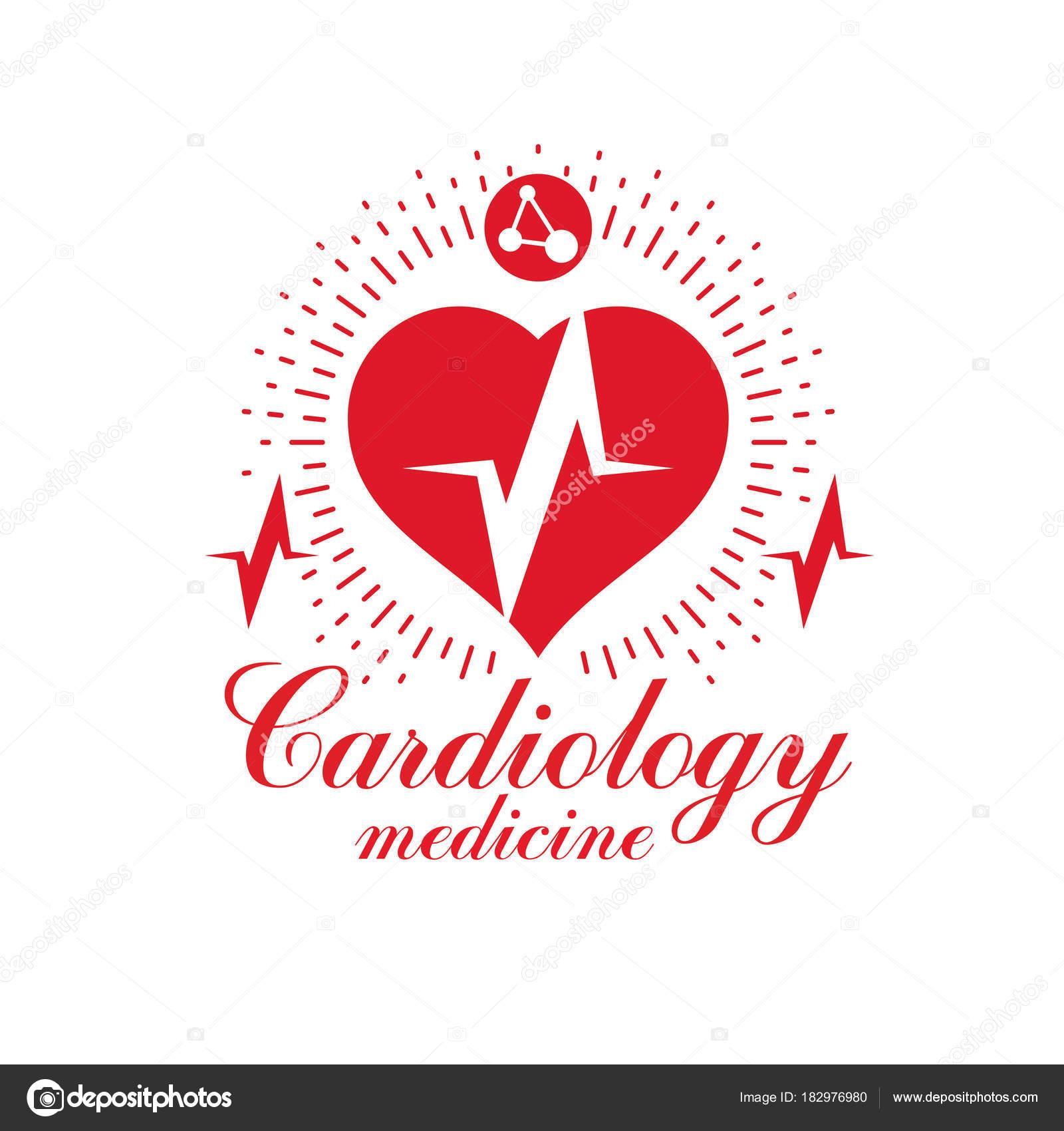 1600x1700 Cardiology Vector Conceptual Logo Created Red Heart Shape Ecg