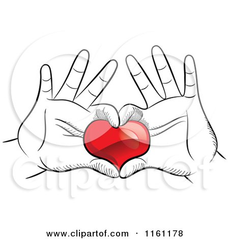 450x470 Clipart Of Black And White Hands Framing And Holding A Red Heart