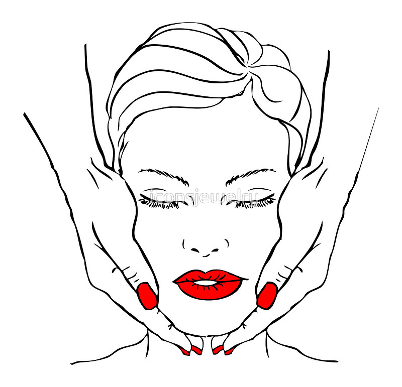 800x771 Fake Tattoo Beautiful Woman Face With Hands Massage, Spa. Red Lips