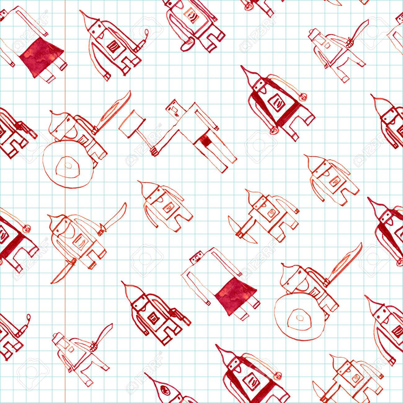 1300x1300 Hero Seamless Pattern. Adorable Child's Drawing With School Pen