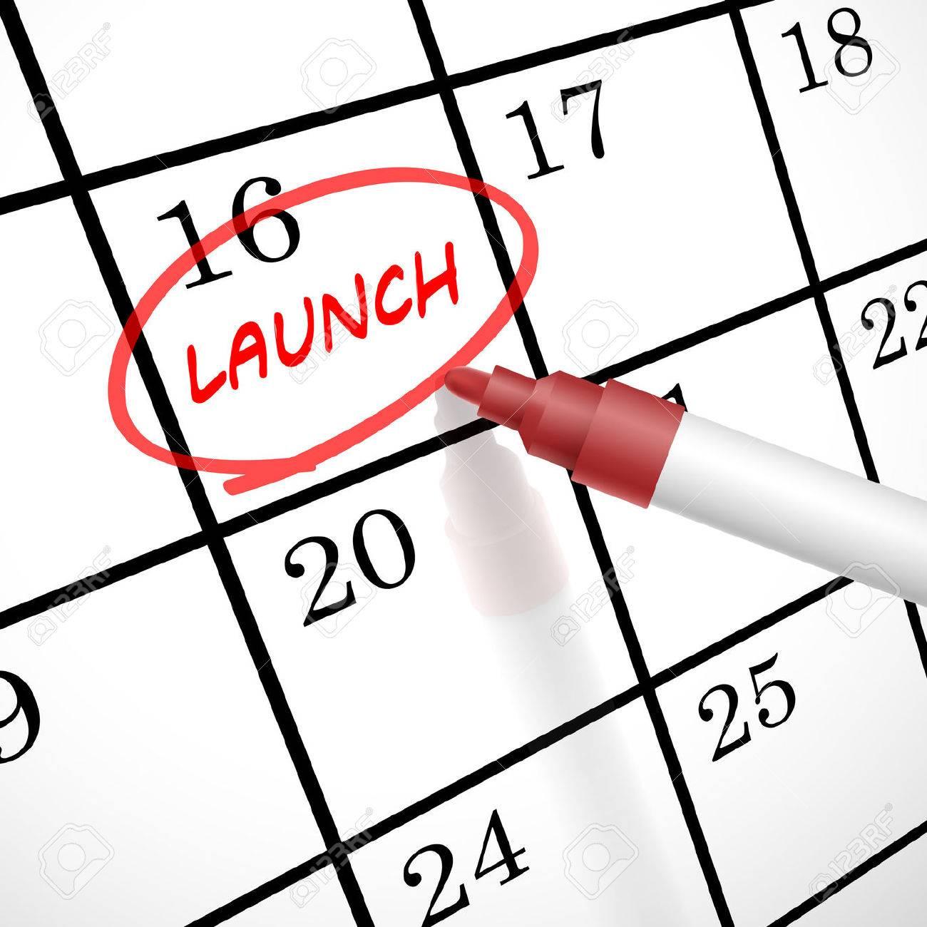 1300x1300 Launch Word Marked On A Calendar By A Red Pen Clip Art Libres De