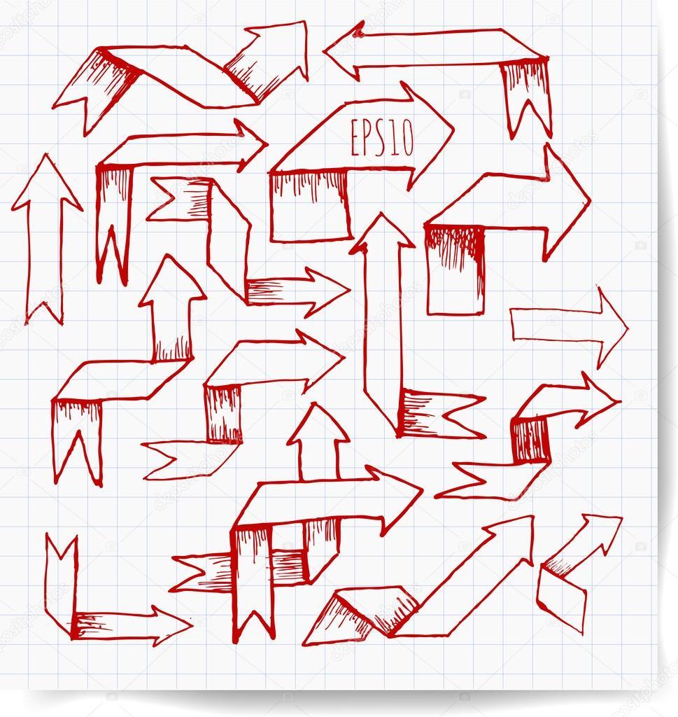 969x1024 Origami Red Pen Sketch Arrow Collection. Stock Vector