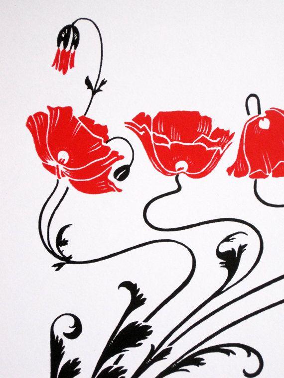 570x760 Art Nouveau Red Poppies