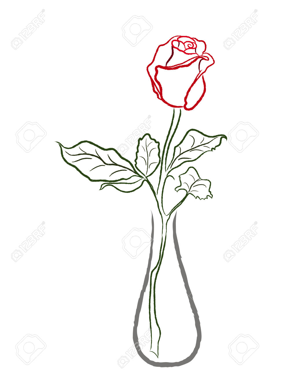975x1300 Stylized Red Rose In A Vase Isolated On White Background, Hand