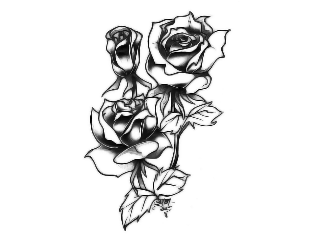1280x960 Dongetrabi Black And White Red Rose Tattoo Images