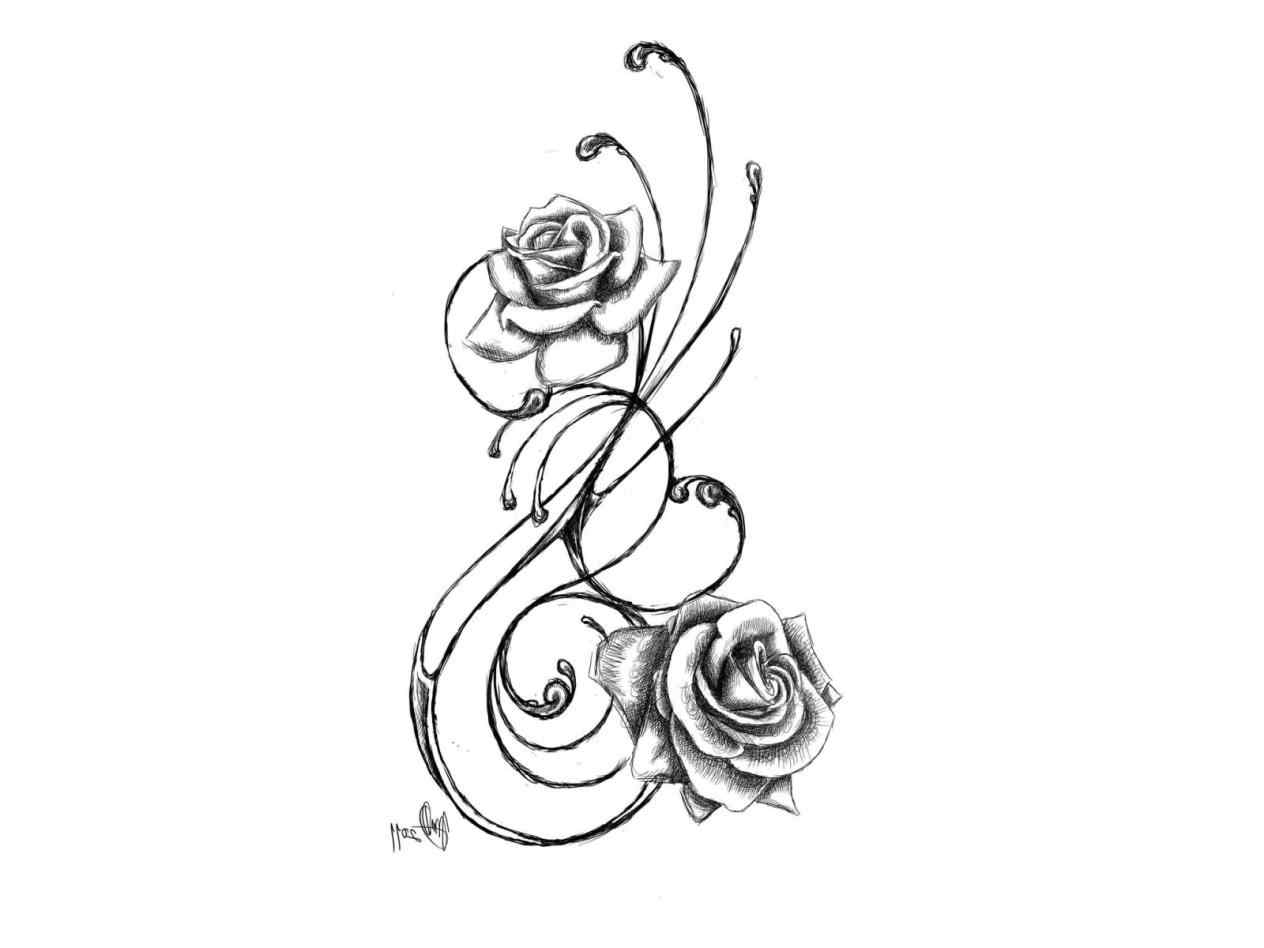 1264x948 Collection Of Rose Vines Tattoo Sketch