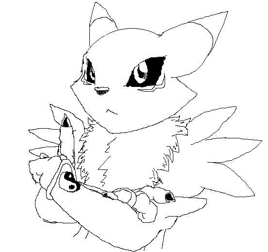 552x519 Renamon Black And White By Robin Redcoat