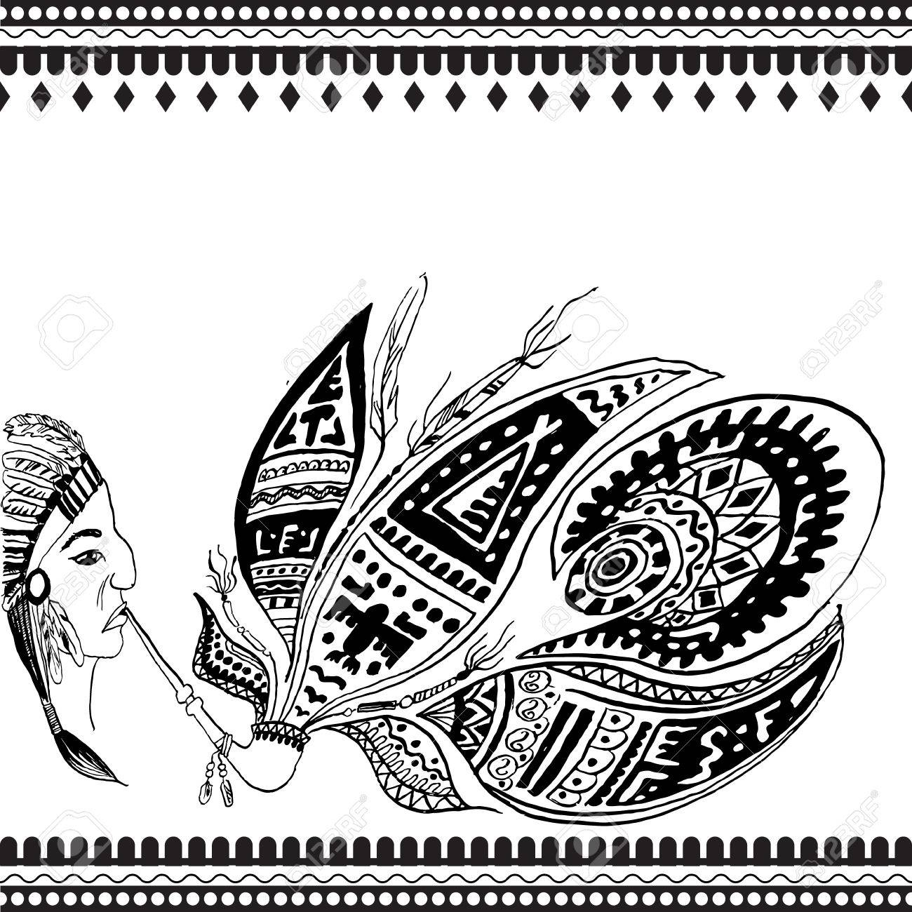 1300x1300 Vector Illustration. Indian Motifs (Redskin Man). Freehand Sketch