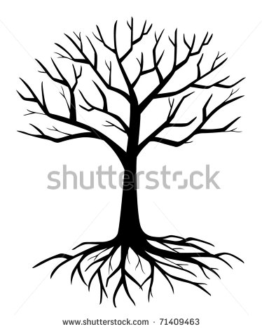374x470 Oak%20tree%20silhouette%20with%20roots Line Drawings