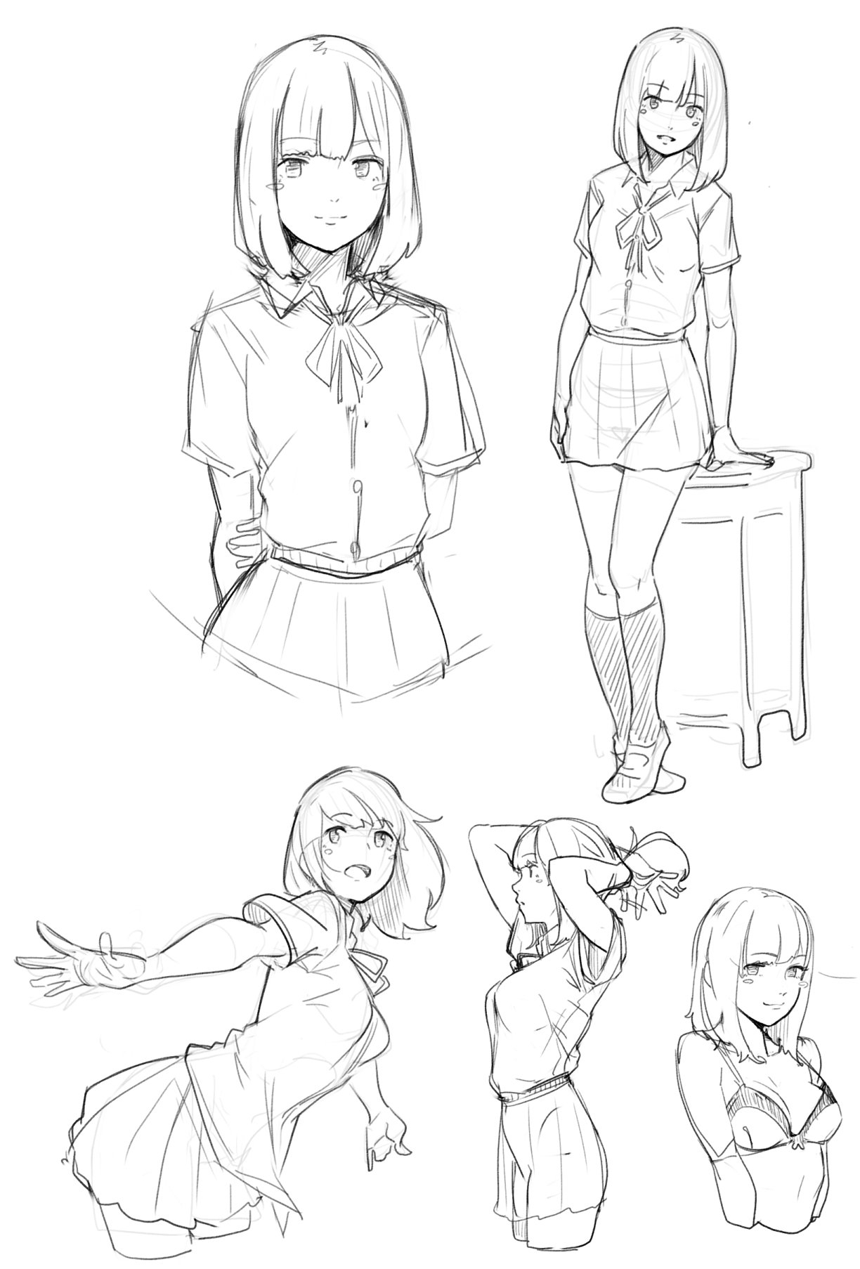 1224x1806 Anime Drawing References Schoolgirl Poses